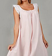 Amanda Rich Short Sleeve with Lace Trim Cotton Gown 106-80