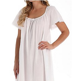 Amanda Rich Short Sleeve Long Gown with Eyelet Trim 145-80