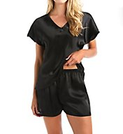 Amanda Rich Satin PJ Sleep Tee With Short Set 412PJ40