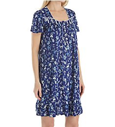 Aria Blue Print Short Sleeve Short Nightgown 801783
