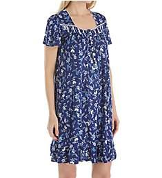 Aria Blue Print Short Sleeve Short Nightgown 801783