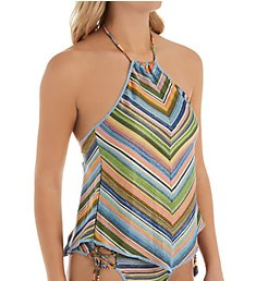 Becca East Village Charlotte Open Back Tankini Swim Top 539707