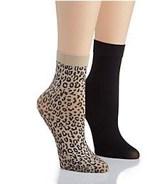 DKNY Hosiery Leopard Anklet Sock - 2 Pack DYF060