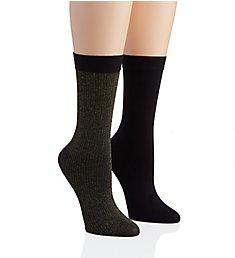 DKNY Hosiery Lurex Rib Midcalf Sock - 2 Pack DYF062