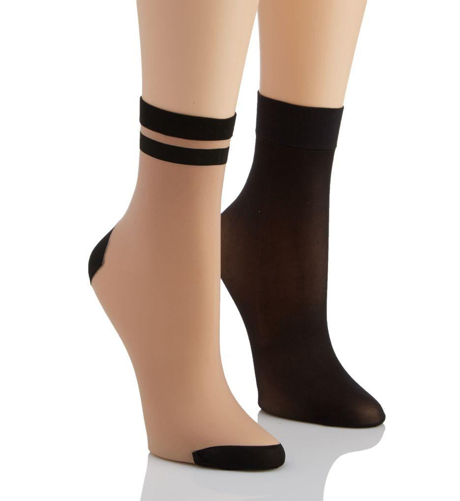 DKNY Hosiery Stripe Tip Anklet Multipack - 2 Pack DYS047