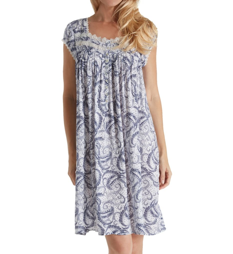 Eileen West Paisley Rayon Woven Short Capsleeve Nightgown 5019804