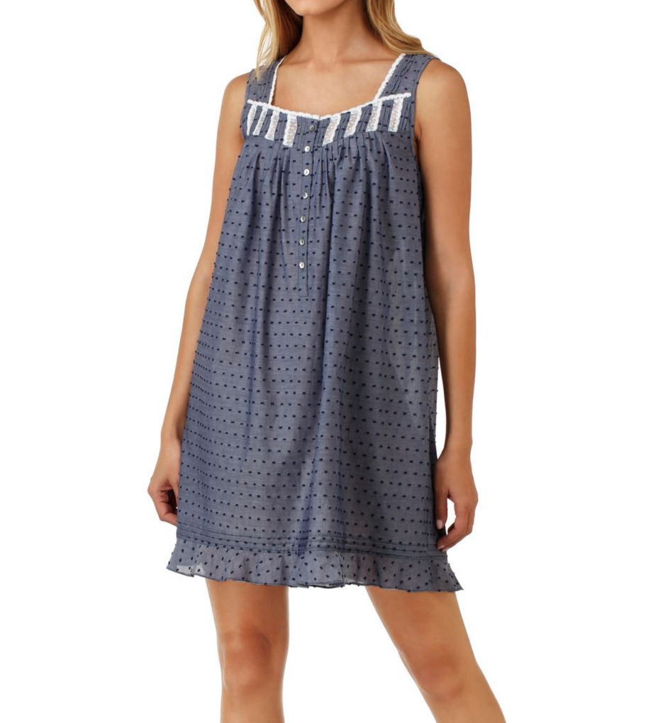 Eileen West Swiss Dot Cotton Lawn Chambray Sleeveless Chemise 5319805