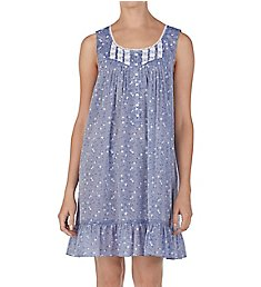 Eileen West Chambray Floral Cotton Woven Short Chemise 5319999
