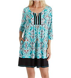 Ellen Tracy Medallion Long Sleeve Short Tunic 8218556
