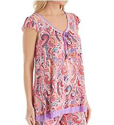 Ellen Tracy Spring Paisley Short Sleeve Top 8418606