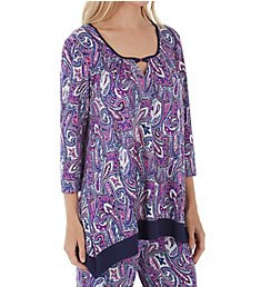 Ellen Tracy Purple Paisley Long Sleeve Top 8418671