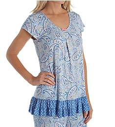 Ellen Tracy Ocean Blue Short Sleeve Top 8421347