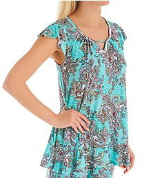 Ellen Tracy Turquoise Damask Short Sleeve Top 8422914