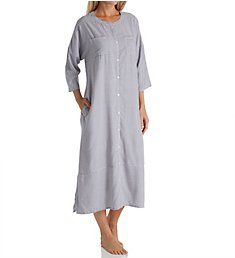 Ellen Tracy Blue Stripe 3/4 Sleeve Button Front Long Tunic 8818608