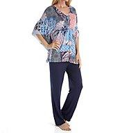 Ellen Tracy Paradise Ashore Caftan PJ Set 8918501