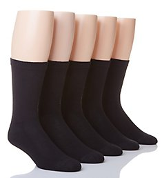 Hanes X-Temp Comfort Cool Black Crew Socks - 5 Pack U11-5