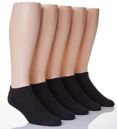 Hanes X-Temp Comfort Cool Black No Show Socks - 5 Pack U21-5