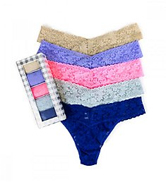 Hanky Panky Holiday Silver Box Original Rise Thongs - 5 Pack 485SCHK