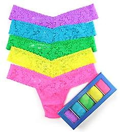 Hanky Panky Holiday Blue Box Low Rise Thong - 5 Pack 49HOLO5
