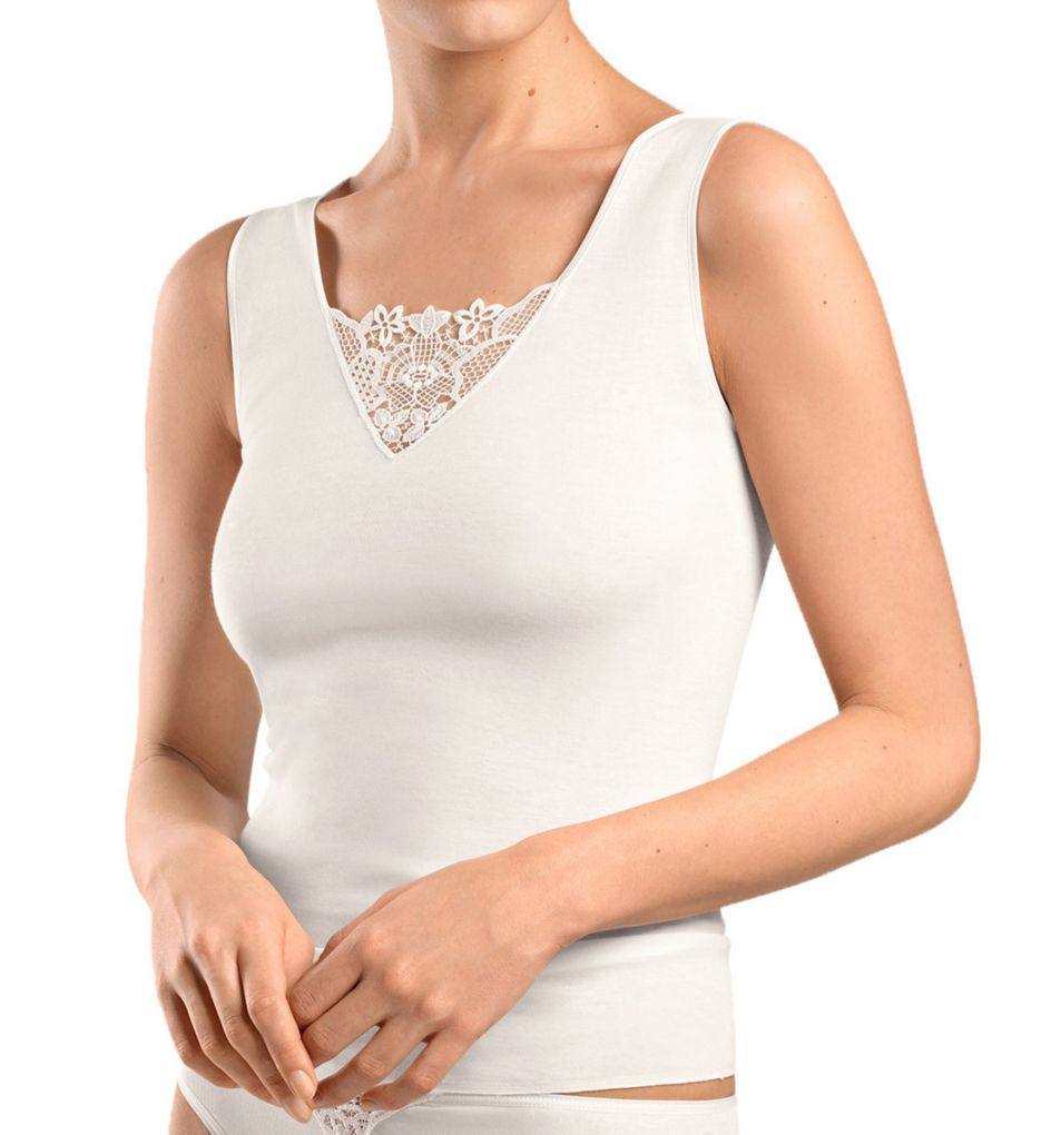 Hanro Vittoria Floral Embroidery Inset Tank Top 72048