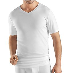 Hanro Sea Island Cotton Short Sleeve V-Neck Shirt 73173