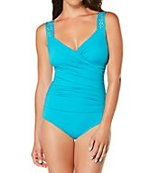 Jantzen Solid Draped Surplice One Piece Swimsuit 7017
