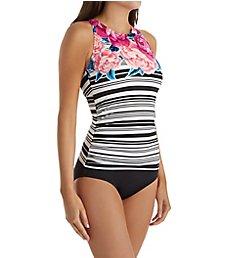 Jantzen Floral Stripe Tummy Control One Piece Swimsuit 8069