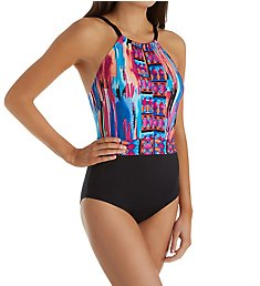 Jantzen Brush Strokes Tummy Control One Piece Swimsuit 8099
