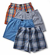 Jockey Active Blend Cotton Woven Boxer - 4 Pack 9041