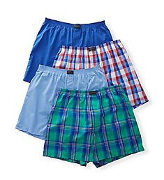 Jockey Active Blend Cotton Woven Boxer - 4 Pack 9131