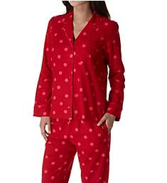 Kate Spade New York Holiday Dot Brushed Twill Long PJ Set 91650F