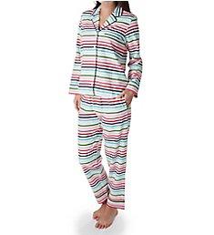 Kate Spade New York Holiday Stripe Brushed Twill Long PJ Set 91650F2