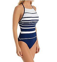 Lauren Ralph Lauren Gradient Stripe Underwire One Piece Swimsuit LR0FJ08