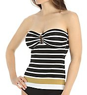 Lauren Ralph Lauren Lurex Stripe Ring Front Bandini Swim Top LR55B85