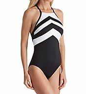 Lauren Ralph Lauren Chevron High Neck One Piece Swimsuit LR7DE08