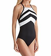 Lauren Ralph Lauren Chevron High Neck One Piece Swimsuit LR7DE08