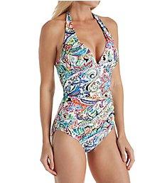 Lauren Ralph Lauren Cabana Paisley Slimming Halter One Piece Swimsuit LR8FP06