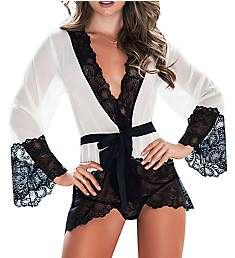 Mapale Chiffon & Lace Robe Set 7148