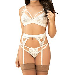 Mapale Cage Lace Wireless Bra and Garter Set 8221