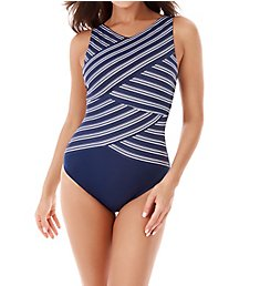 Miraclesuit Belmont Stripe Hidden Underwire One Piece Swimsuit 6523353