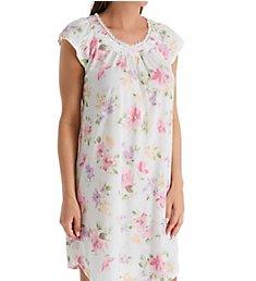 Miss Elaine Silkyknit Floral Cap Sleeve Short Gown 204479