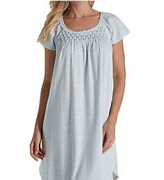 Miss Elaine Blue Rosebuds Silkyknit Short Gown 207815