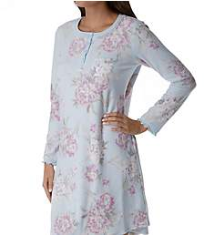 Miss Elaine Brushed Waffle Knit Long Sleeve Short Gown 211508
