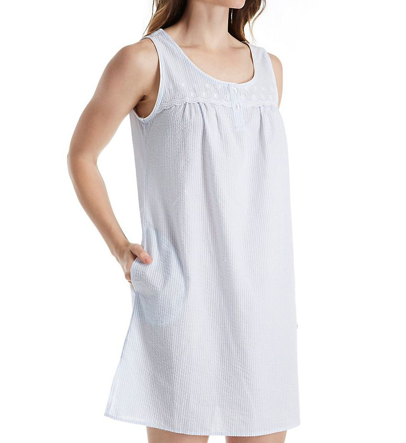 Miss Elaine Seersucker Sleeveless Chemise 224657