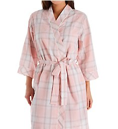 Miss Elaine Seersucker Plaid Short Robe 304609