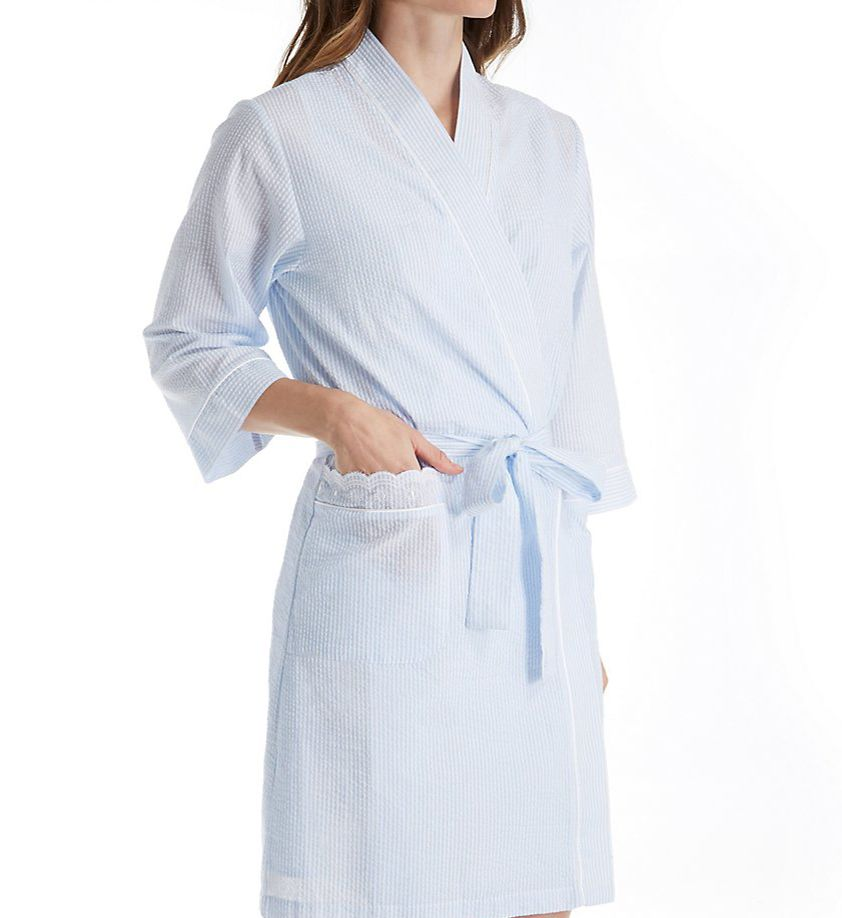 Miss Elaine Seersucker Short Wrap Robe 304657