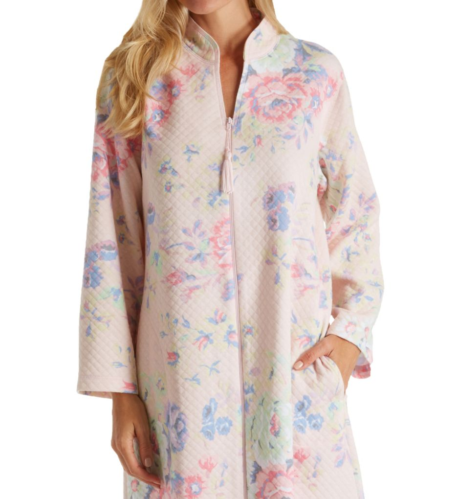 Miss Elaine Softknit Quilt-In-Knit Short Zip Robe 366447