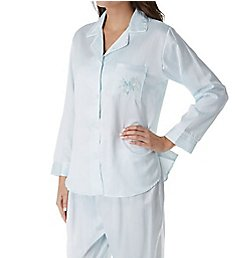 Miss Elaine Brushed Back Satin Striped Long Sleeve PJ Set 411148