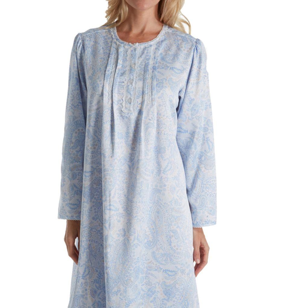 Miss Elaine Brushed Back Satin Paisley Long Sleeve Nightgown 516137