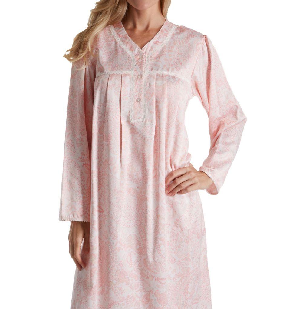 Miss Elaine Brushed Back Satin Paisley Long Nightgown 536137